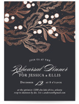 This is a blue rehearsal dinner invitation by Paper Raven Co. called Frost with foil-pressed printing on signature in standard.