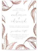 This is a rosegold rehearsal dinner invitation by Anastasia Makarova called Golden Leaves with foil-pressed printing on signature in standard.