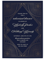 This is a blue rehearsal dinner invitation by Anupama called Gatsby Frame with foil-pressed printing on signature in standard.