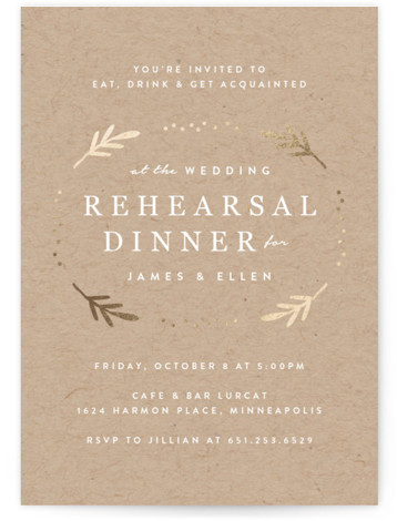 This is a brown, gold Rehearsal Dinner Invitations by Michelle Taylor called illuminate with Foil Pressed printing on Signature in Classic Flat Card format. This wedding rehearsal dinner invitation features foil pressed greenery and modern typography.