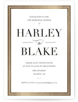 This is a black and white rehearsal dinner invitation by Stacey Meacham called Gilded Frame with foil-pressed printing on signature in standard.