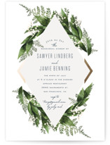 This is a green rehearsal dinner invitation by Leah Bisch called Diamante with foil-pressed printing on signature in standard.