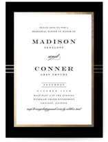 This is a black rehearsal dinner invitation by Stacey Meacham called Distinguished Frame with foil-pressed printing on signature in standard.