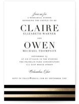 This is a black rehearsal dinner invitation by Jennifer Postorino called Deluxe with foil-pressed printing on signature in standard.