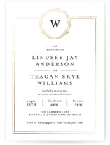 This is a white rehearsal dinner invitation by Phrosne Ras called Little Wreath with foil-pressed printing on signature in standard.