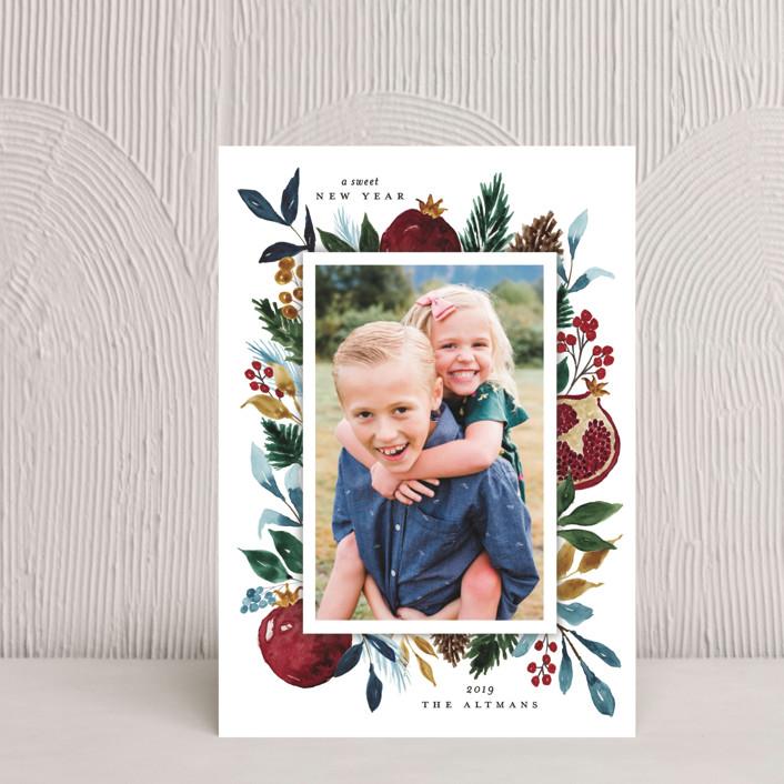"""Pomegranate"" - Rosh Hashanah Postcards in Evergreen by Beth Schneider."
