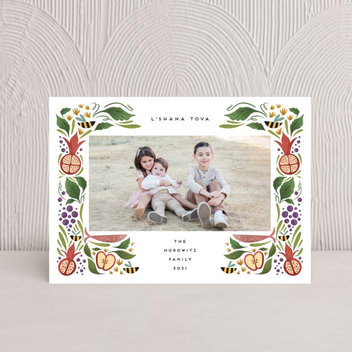 """Bountiful Sweetness"" - Rosh Hashanah Postcards in Green Apple by Grae."
