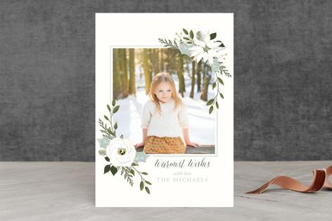 White Poinsettia & Greens Christmas Photo Cards