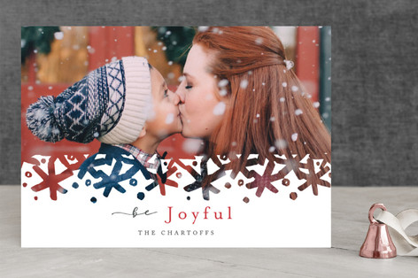 Brushed Snowflakes Christmas Photo Cards