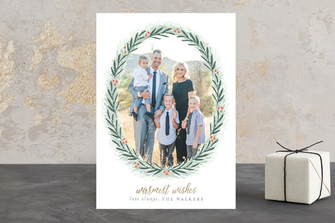 Most Elegant Wreath Christmas Photo Cards
