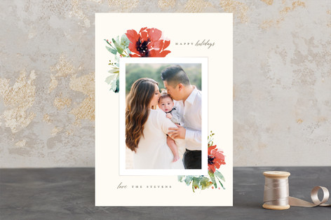Floral Corners Christmas Photo Cards