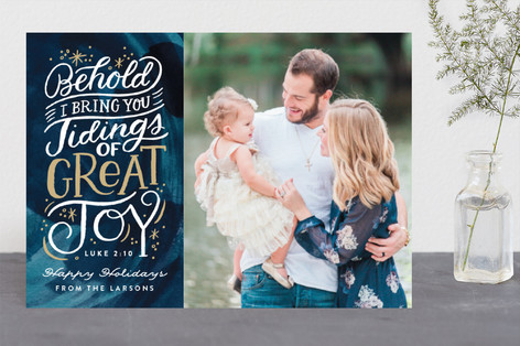 Tidings of Great Joy Script Christmas Photo Cards