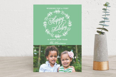Simple Wreath Christmas Photo Cards