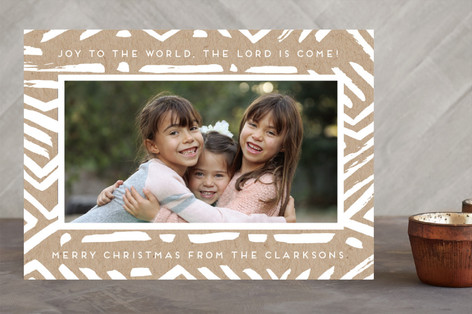 Brushed Lines Christmas Photo Cards