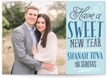 This is a blue rosh hashanah card by Jessie Steury called Sweet New Year printing on smooth signature in standard.