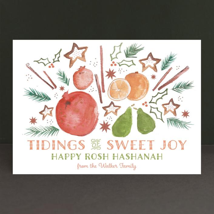 """""""Tidings of Sweet Joy"""" - Rustic/Craft Rosh Hashanah Cards in Persimmon by Grace Kreinbrink."""