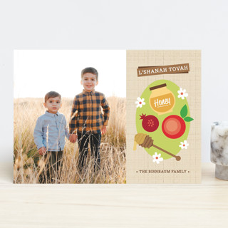 Modern Apples and Honey Rosh Hashanah Cards