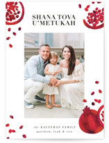 This is a red rosh hashanah card by Jacki Loomis called Pomfetti printing on smooth signature in standard.