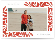 This is a red rosh hashanah card by Michelle Taylor called Winter Foliage printing on recycled smooth signature in standard.