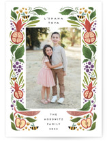 This is a green rosh hashanah card by Grae called Bountiful Sweetness printing on recycled smooth signature in standard.