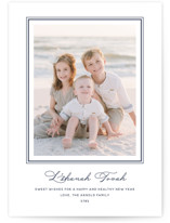 This is a blue rosh hashanah card by Annie Shapiro called Lake printing on recycled smooth signature in standard.