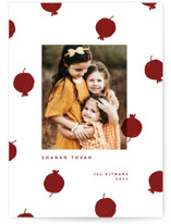This is a red rosh hashanah card by Sumak Studio called pomegranate dots printing on recycled smooth signature in standard.