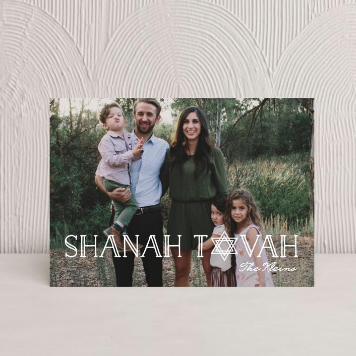 """Art Deco Shanah Tovah"" - Rosh Hashanah Petite Cards in Pearl by Chryssi Tsoupanarias."
