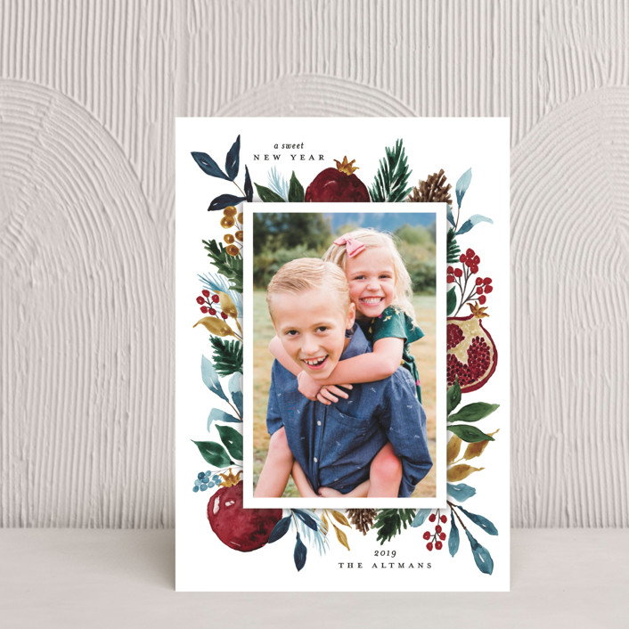 """""""Pomegranate"""" - Rosh Hashanah Petite Cards in Evergreen by Beth Schneider."""