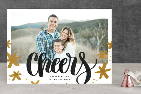 Bold Cheers New Year's Photo Cards