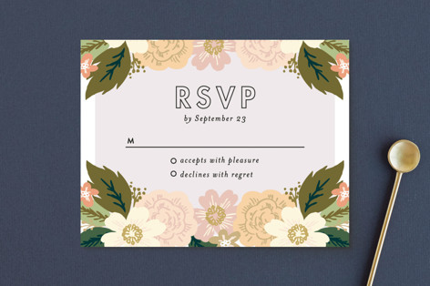 Classic Floral RSVP Postcards