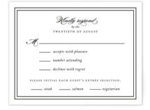 This is a black and white rsvp postcard by Kimberly FitzSimons called Eloquence printing on signature.