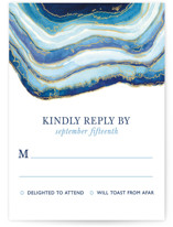 This is a blue rsvp postcard by Kaydi Bishop called Gilt Agate printing on signature.