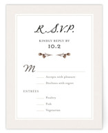 This is a brown rsvp postcard by Honeybunch Studio called Gone To Seed printing on signature.