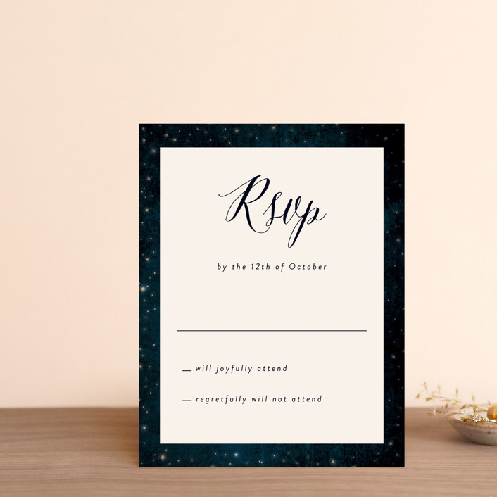 """""""Outside"""" - Rustic Rsvp Postcards in Navy by Rebecca Bowen."""