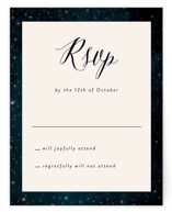 This is a blue rsvp postcard by Rebecca Bowen called Outside printing on signature in postcard.