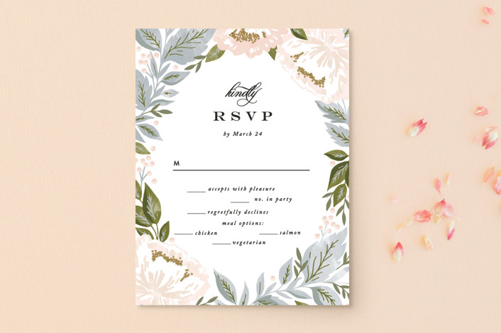 """Peony Floral Frame"" - Rsvp Postcards in Cornflower by Alethea and Ruth."