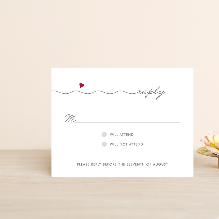 """""""Love Connection"""" - Whimsical & Funny Rsvp Postcards in Red Hot by Kim Dietrich Elam."""