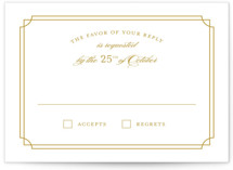 This is a yellow rsvp postcard by Sarah Brown called Luxe Border printing on signature.