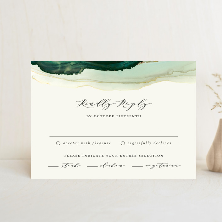 """""""Flow"""" - Bohemian Rsvp Postcards in Emerald by Three Kisses Studio."""