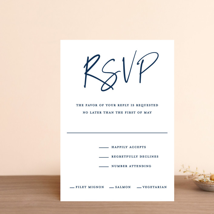 """Semi Formal"" - Rsvp Postcards in Navy by Paper Dahlia."