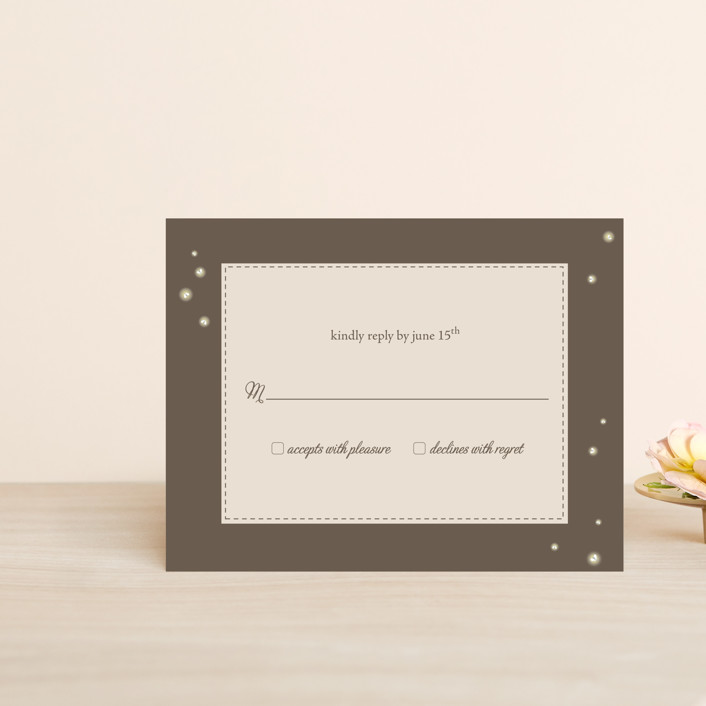"""""""Fireflies"""" - Whimsical & Funny, Rustic Rsvp Postcards in Zuni Brown by Paige Rothhaar."""