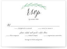 This is a white rsvp postcard by Olivia Raufman called Painted Leaves printing on signature in postcard.