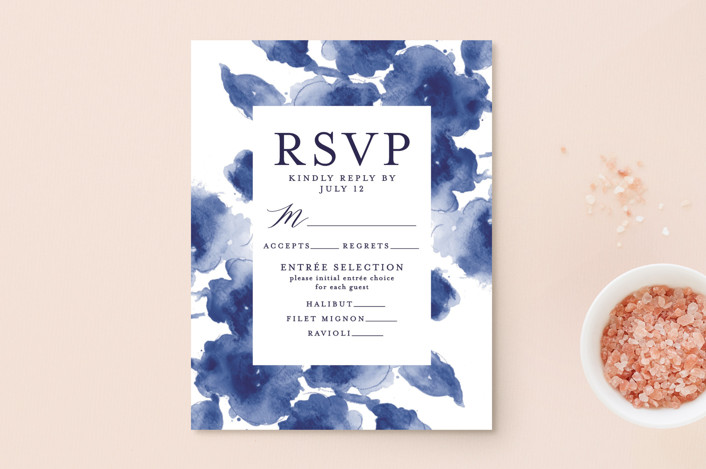 """Cornflower Wedding"" - Rsvp Postcards in Periwinkle by Chris Griffith."