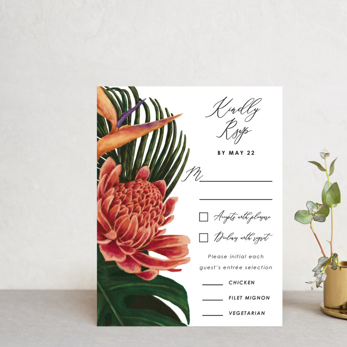 """""""Tropical Bouquet"""" - Rsvp Postcards in Basil by Elly."""