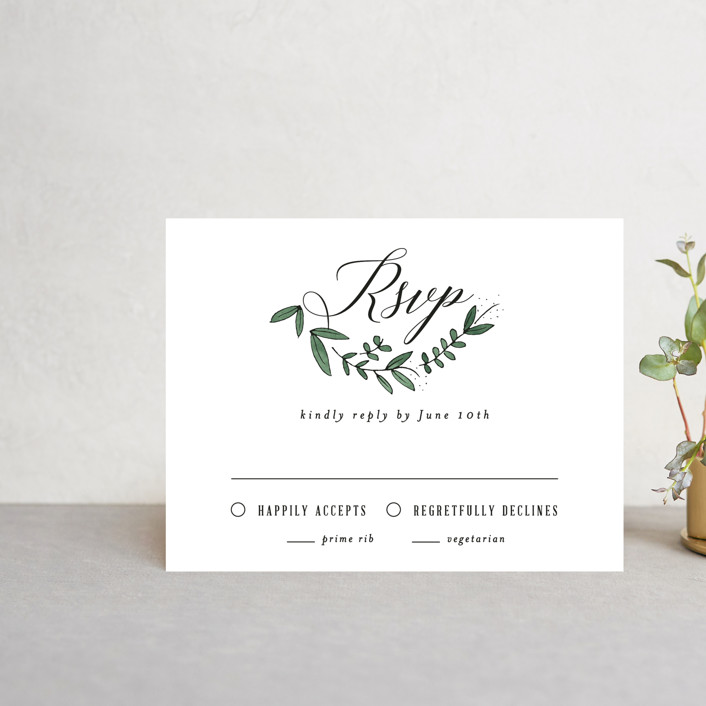 """Floral Wreath"" - Rsvp Postcards in Fresh by Kelly Schmidt."