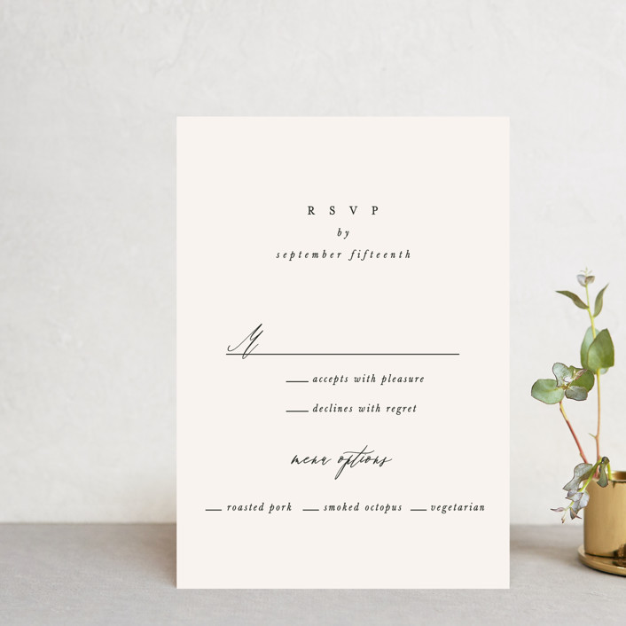 """""""Timeless"""" - Rsvp Postcards in Taupe by Leah Bisch."""