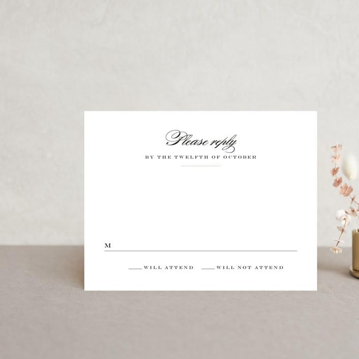 """Charming Go Lightly"" - Rsvp Postcards in Crisp Black by danielleb."