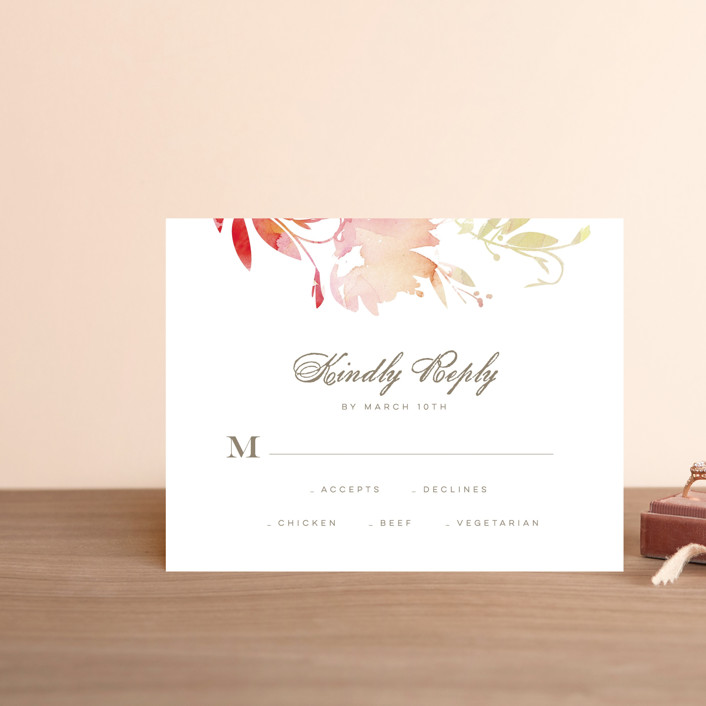 """""""Stately Florals"""" - Rsvp Postcards in Poppy by Lori Wemple."""