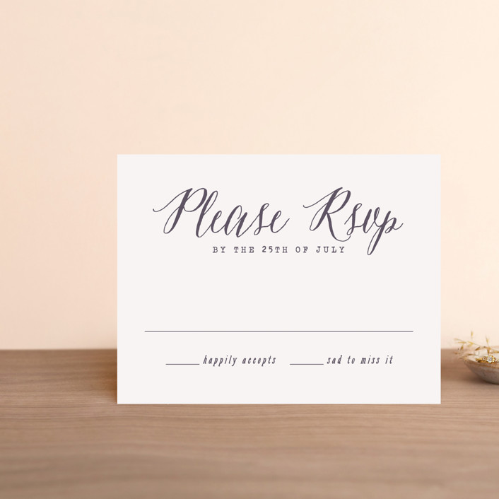 """""""Garden Lights"""" - Rustic Rsvp Postcards in Plum by Hooray Creative."""