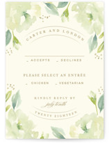 This is a green rsvp postcard by Lori Wemple called Southern Garden printing on signature.